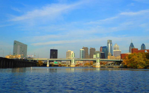 Center City Philadelphia from my kayak on the Schuylkill River.