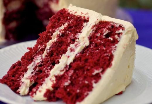 Slice of Red Velvet Cake with Mascarpone Icing