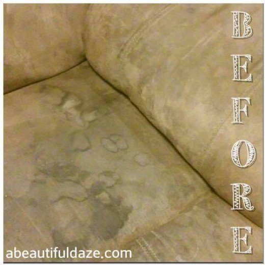 Here's a closeup of the stained-up couch: Yuck. Just yuck.
