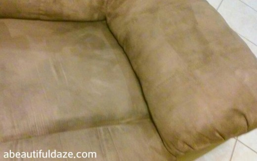 This is what my couch looked like after just one process of spraying and scrubbing.  It looked nice, but I was on a roll and determined to get it even cleaner than this!