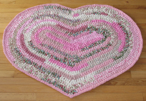 Hand Crocheted Cotton Fabric Heart Shaped Rug in Shades of Pink