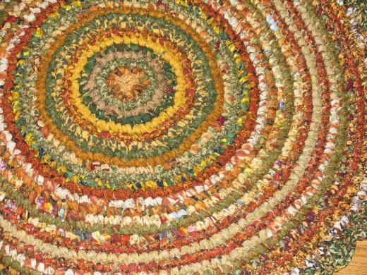 Hand Crocheted Round Rag Rug - Shades of Autumn