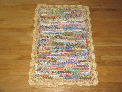 Hand Crocheted Cotton Fabric Rectangular Rag Rug / Odds and Ends with Yellow Scalloped Edge