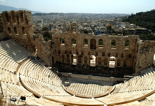 """An """"odeon"""" - the open-air theatre used by the ancient Greeks."""