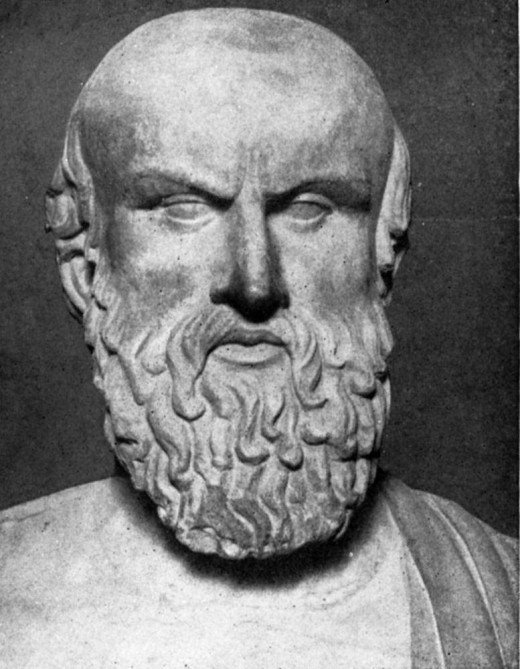 A bust of Aeschylus, one of the three Greek tragic playwrights.