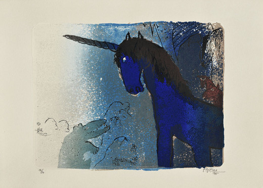 "Serigraphy ""The unicorn"" by Adi Holzer. It is a part of the ""Noah Zyklus"" from the year 1975."