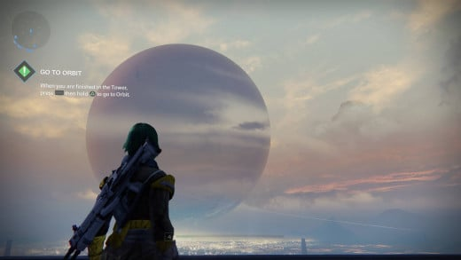 A Guardian watching the Traveler at twilight.