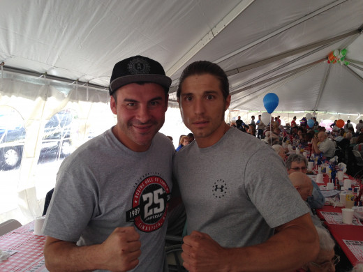 Me and retired Former Undisputed Super-Middleweight and Light-Heavyweight Champion Joe Calzaghe at the 2014 International Boxing Hall of Fame lunch-in