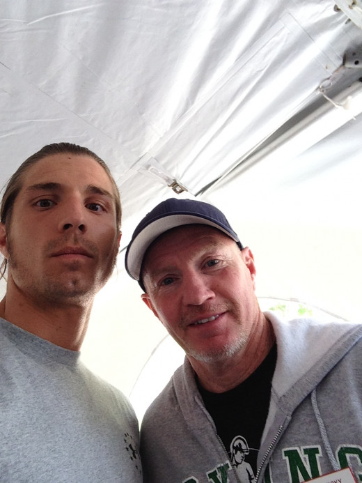 """Myself and retired Former WBU light-welterweight Champion """"Irish"""" Mickey Ward at the 2014 Induction Ceremony lunch-in"""