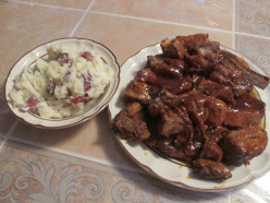 Beer Barbecue Ribs with Sour Cream, Butter Smashed Potatoes