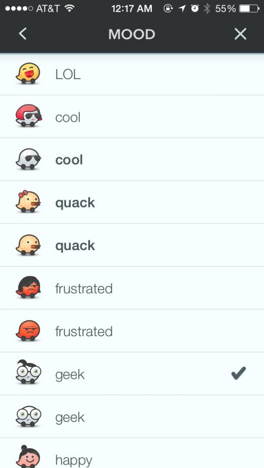 screenshot of waze app mood icons