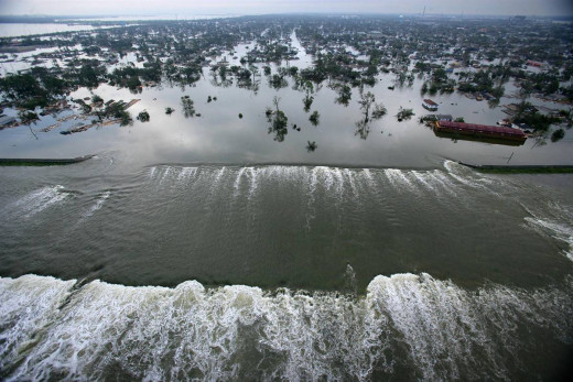 Aerial views of damage caused from Hurricane Katrina the day after the hurricane hit August 30, 2005. This is one of the levees that has been damaged by the hurricane.
