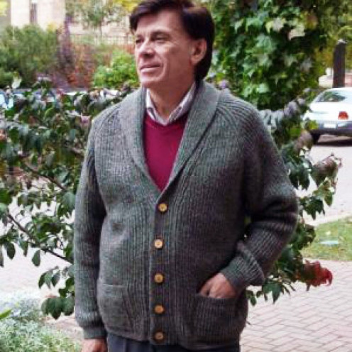 Alec King -- sweater designer and wearer