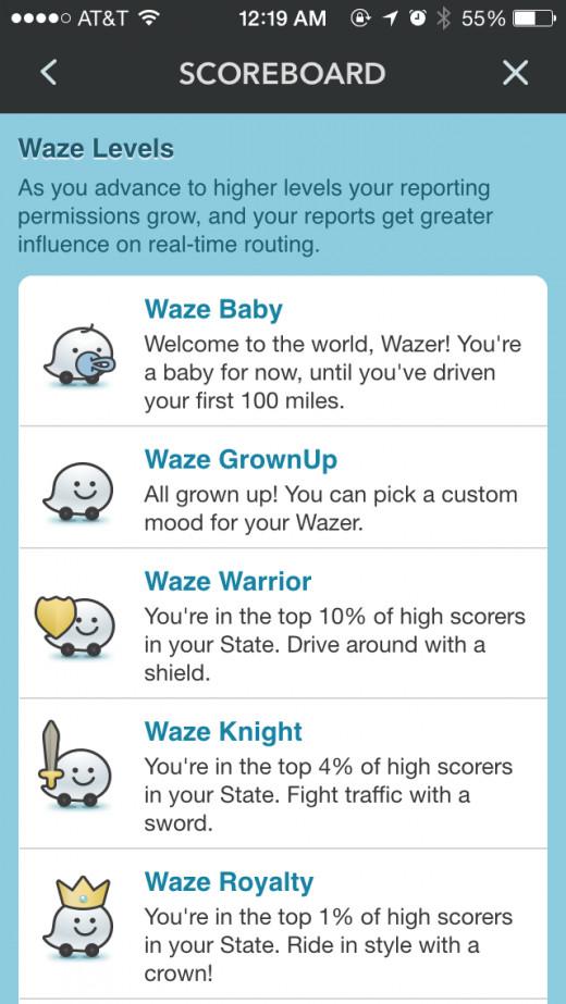 screenshot of waze app scoreboard levels