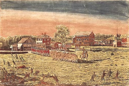 Engraving by Amos Doolittle from 1775 - Battles of Lexington and Concord.