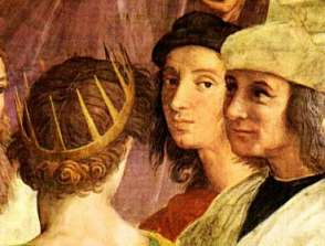 Raphael (Center) as Apelles with friend Sodoma as Protogenes