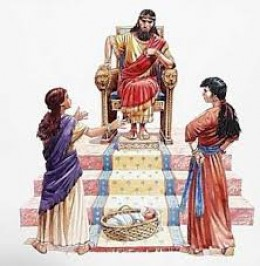 King Solomon judging the case of two women, who claimed the same baby.