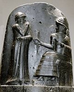 Depiction engraved on stone of Hammurabi the law-giver; the sixth Amorite king of Babylon (died 1750 B.C.E.)