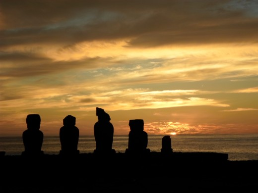 Moai at the Tahai Ceremonial Complex at sunset