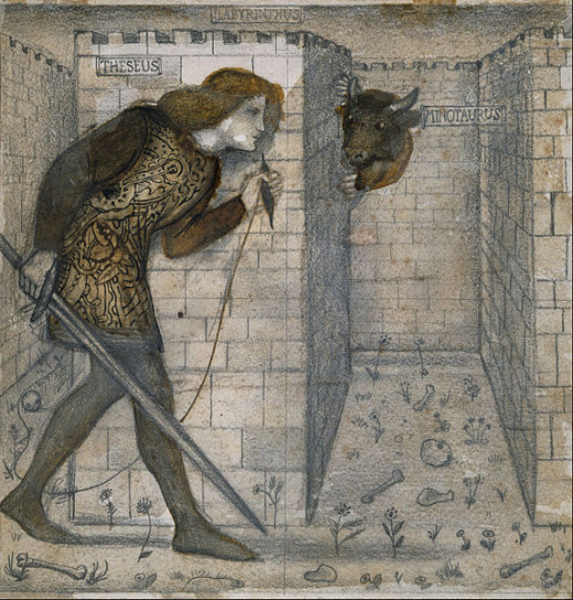 Tile Design - Theseus and the Minotaur in the Labyrinth by Edward Burne-Jones