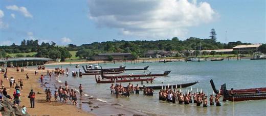Traditional maori Waitangi Day celebrations at Waitangi, Paihia.