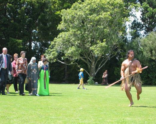 Prime Minister Helen Clark being welcomed onto Hoani Waititi Marae, in West Auckland, Waitangi Day 2006.