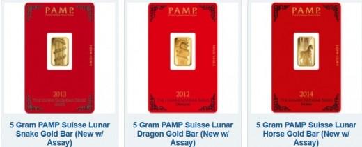 Set of three 5 gram gold PAMP Lunar series art bars.