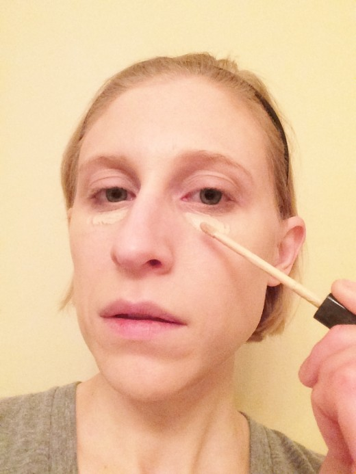 Use concealer to cover under eye circles or blemishes.