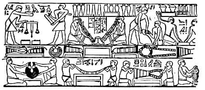A scene depicting metal working in ancient Egypt. Some scholars believe this to be a scene showing the washing and weighing of gold, but it could also be the post mining process for all the metals used in ancient Egypt