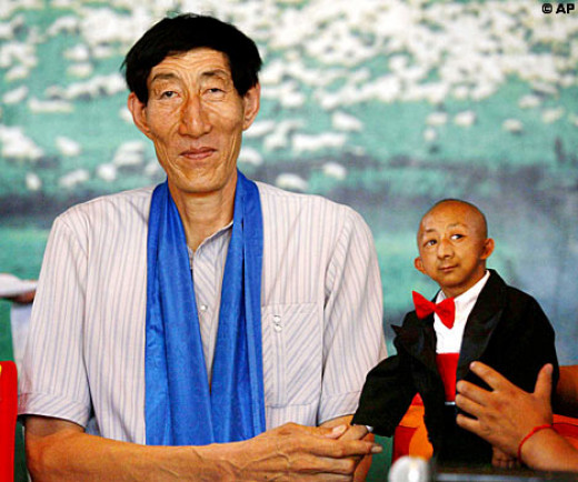 www.dailymail.co.uk / While Mr Xishun, 56, towers above everyone at an astonishing 7.9ft, 19-year-old Mr Pingping is a mere 2.4ft high.