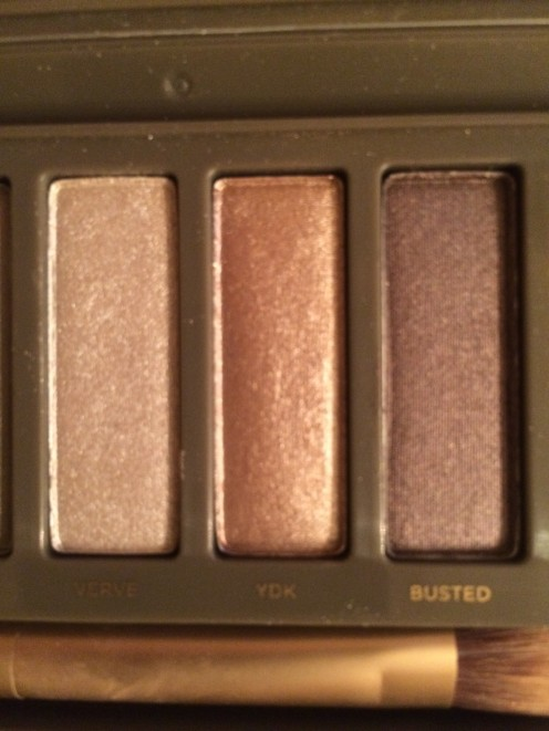 From the Naked 2 palette, I used a bronze color (YDK) on the eyelid, a darker color (Busted) on the crease, and a light color (Verve) under the brow.