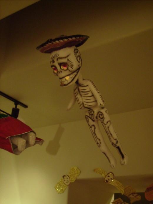 Skeleton  wearing a sombrero a common Día de los Muertos decoration
