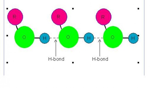 Dotted line shows hydrogen bonds among the molecules of alcohol.