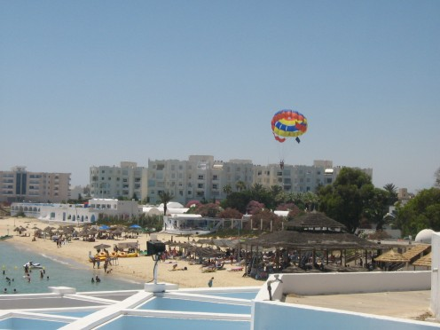 The beaches in Hammamet are great for all manner of water sports and  paragliding