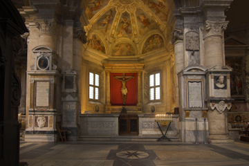 An interior shot of the Sante Maria Del Popolo in Rome, Italy.