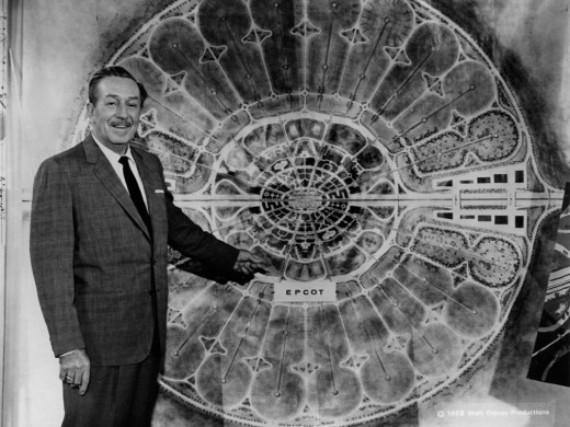 Walt displays a map showcasing the original planned layout for the city of EPCOT.