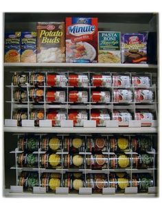 This pantry shelf has been adapted to best utilize limited space. New cans are entered on the top row, while the bottom row dispenses older cans for use.