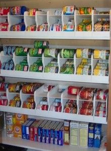 These refrigerator rolling soda can dispensers were secured to a pantry door and provide an efficient use of space, but can be quite expensive.