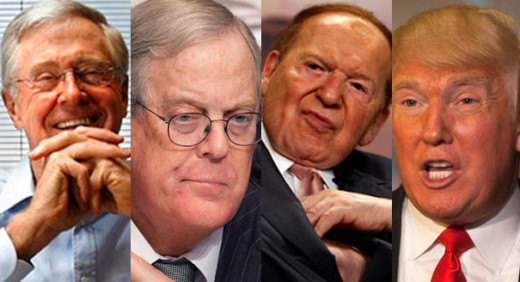 Billionaires like the Koch Brothers, Sheldon Adleson and Donald Trump have extraordinary political influence entirely due to their wealth.