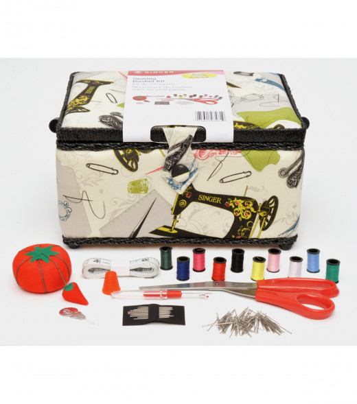 A Singer sewing kit with sewing basket, prepackaged as well.