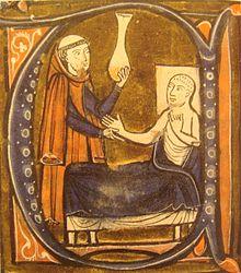 "An illumination of the physician Rhazes from Gerard of Cremona's work ""Recueil des traités de médecine"""
