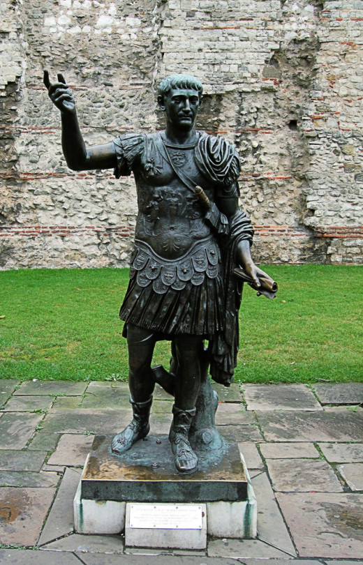 A statue of Emperor Trajan at Tower Hill, London.