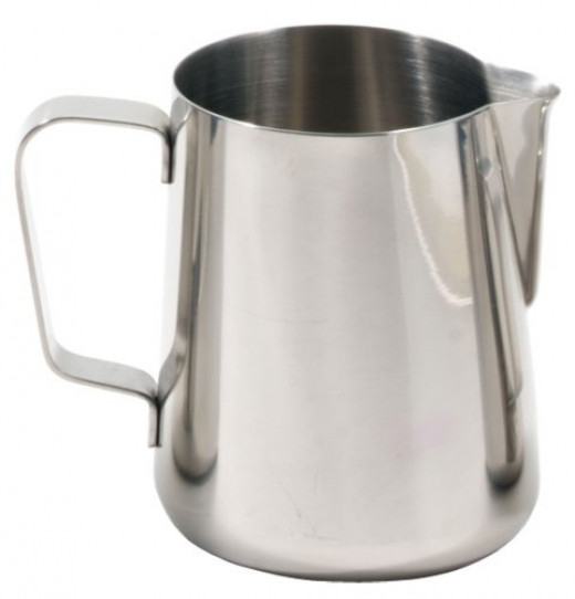 The Rattleware's tapered spout makes it perfect for coffee lovers who enjoy creative latte art.  Made from high quality stainless steel, the Rattleware is elegant, sturdy and durable.  Its dimensions are 3-1/4 inches wide by 4-1/2 inches tall.