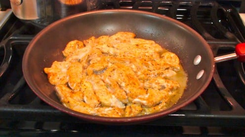 Saute chicken in butter or margarine.