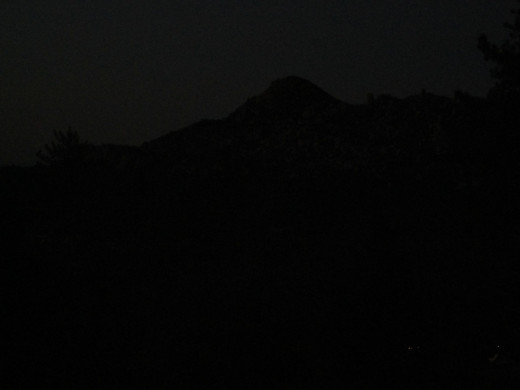 The outline of the Pinnacles at dusk.