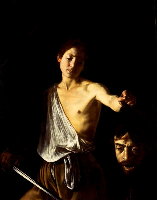 Example where Caravaggio included himself in one of his paintings. I will let you guess which he is! Definitely shows a sense of humor or some psychological  self-degradation on his part. Either way it is interesting.