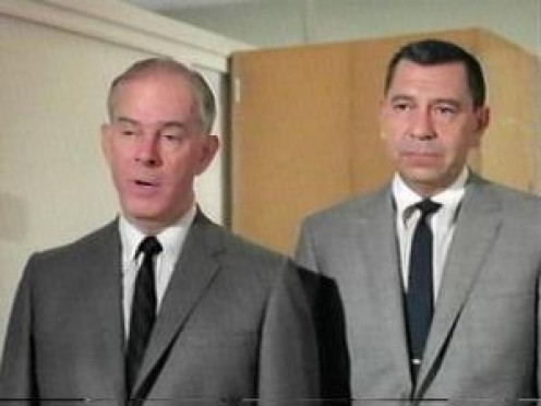 "Harry Morgan, left, ""Bill Gannon"" and Jack Webb, ""Joe Friday,"" in the hit television series, Dragnet"