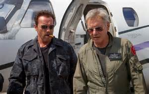 Worst Supporting Actor (as voted on by Razzie members since 1998) nominee Arnold Schwarzenegger in The Expendables 3 with Harrison Ford.