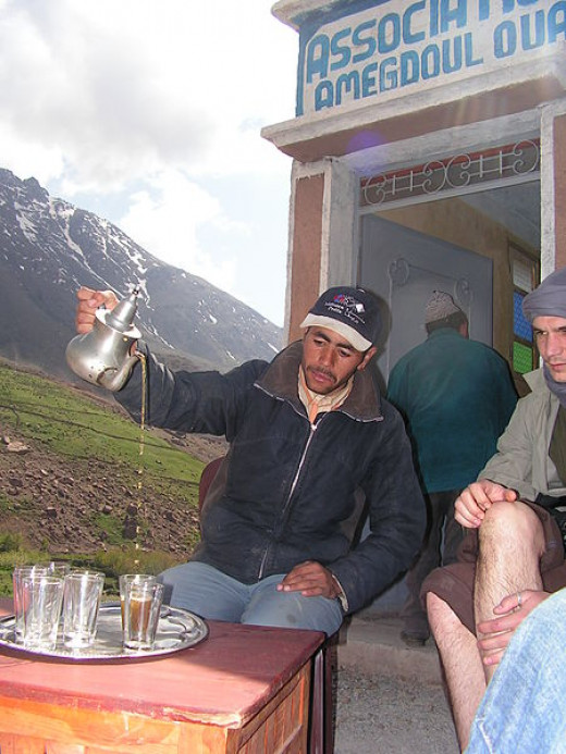 Tea time in the Moroccan Atlas mountains.