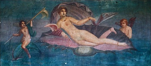 Roman representation of the goddess: Venus, whose functions included love, desire, beauty, sex, prosperity, and fertility. The image was discovered on a fresco in 1960 at Pompei, and was created in the 1st century AD.